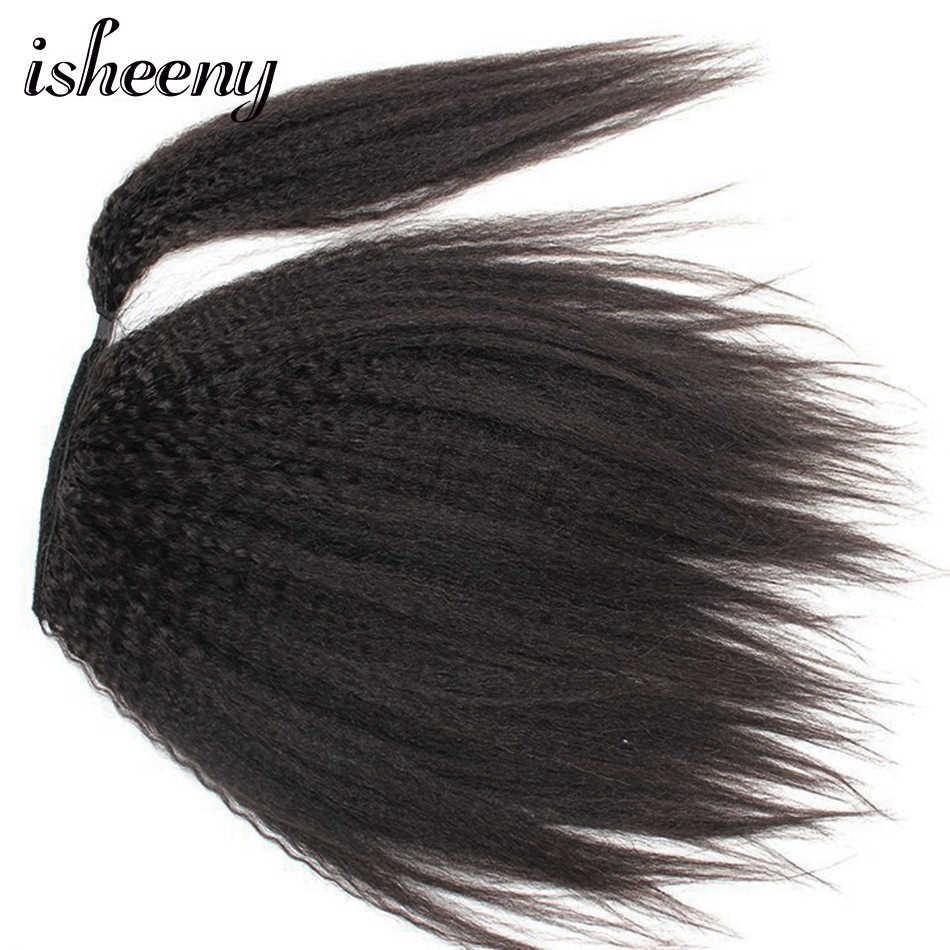 Isheeny курчавые прямые бразильские Remy человеческие волосы на шнурке клип в хвост волосы для наращивания натуральный черный конский хвост для белого