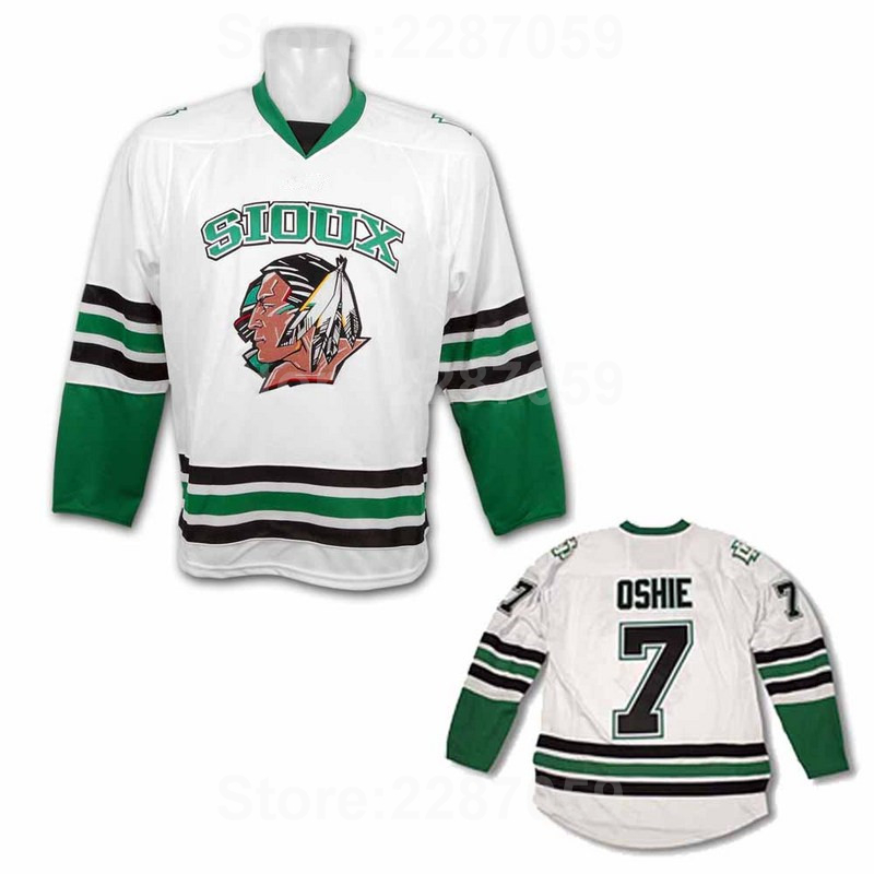 new style 1a394 8df0d Ediwallen North Dakota Fighting Sioux 7 TJ Oshie Jersey Men Stitched  College Ice Hockey Jerseys Embroidery Black Green White