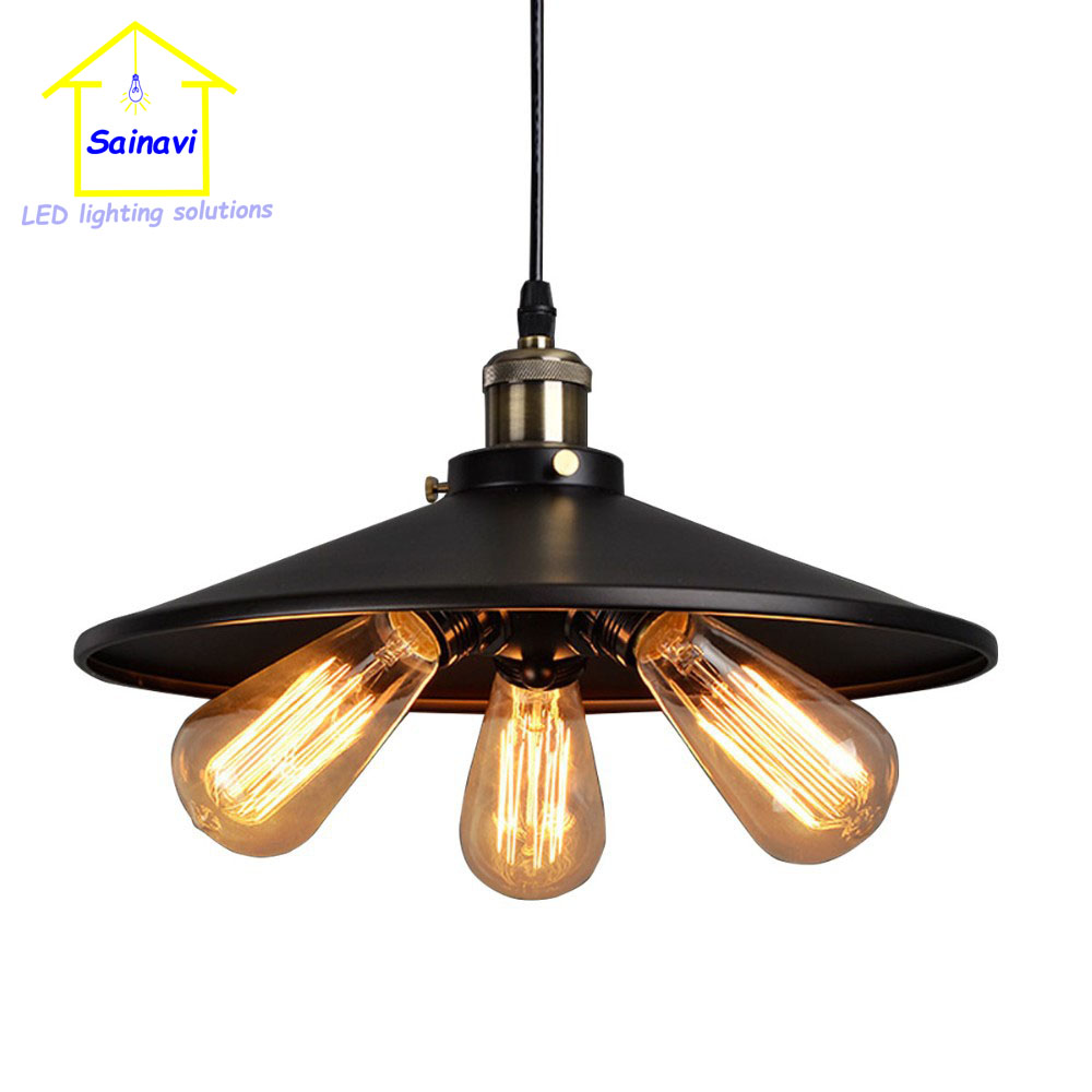 D45cm American Pendant Light Country Industrial Lamp Vintage for RH Loft Warehouse 3*E27 lampholder Droplight Iron Art new vintage iron led pendant light industrial loft retro droplight restaurant american country style hanging lamp e27 zdd0062