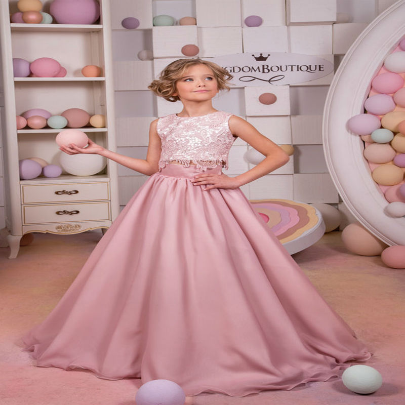 цена на A-Line Flower Girls Dresses for Wedding Lace First Communion Dresses for Girls Satin Kids Evening Gowns Mother Daughter Dresses