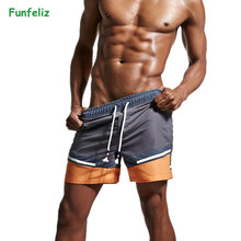 Funfeliz Mens Swimming Shorts Boxer Trunk Quick Dry Men Swimwear Short Male  Boardshorts Surfing Suit for