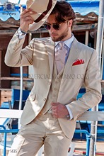 Latest Coat Pant Designs Beige Italian Formal Custom Wedding Suits For Men Beach Notched Lapel Slim Fit 3 Pieces Masculino M10
