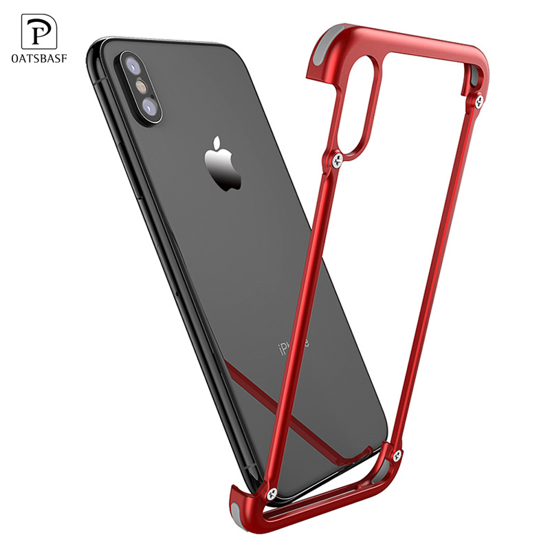 OATSBASF Original X Shape Metal Case for iPhone XS Max Case Personality Back Cover for iPhone X shockproof shell Bumper Case