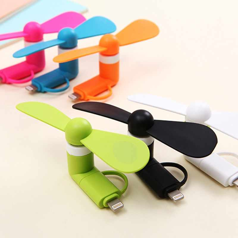 2-In-1 Travel Portable Mini Fan Pendingin Cooler USB Mini Fan C UNTUK iPhone 5 6 6S 7 Plus 8 X untuk Android Tipe-C Penggemar Mobile