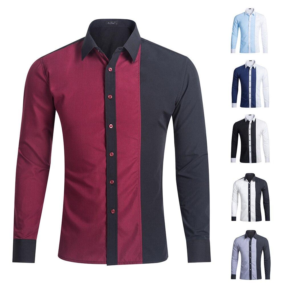 Shirts Long Sleeve Collision Color Leisure Men's Shirt Splicing Men's Clothing Casual Men Plus SizeXL Slim Fit Social Shirts