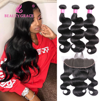 Beauty Grace Hair Brazilian Body Wave Human Hair Weave 3 Bundles With Frontal Non Remy Lace Frontal Closure With Bundles