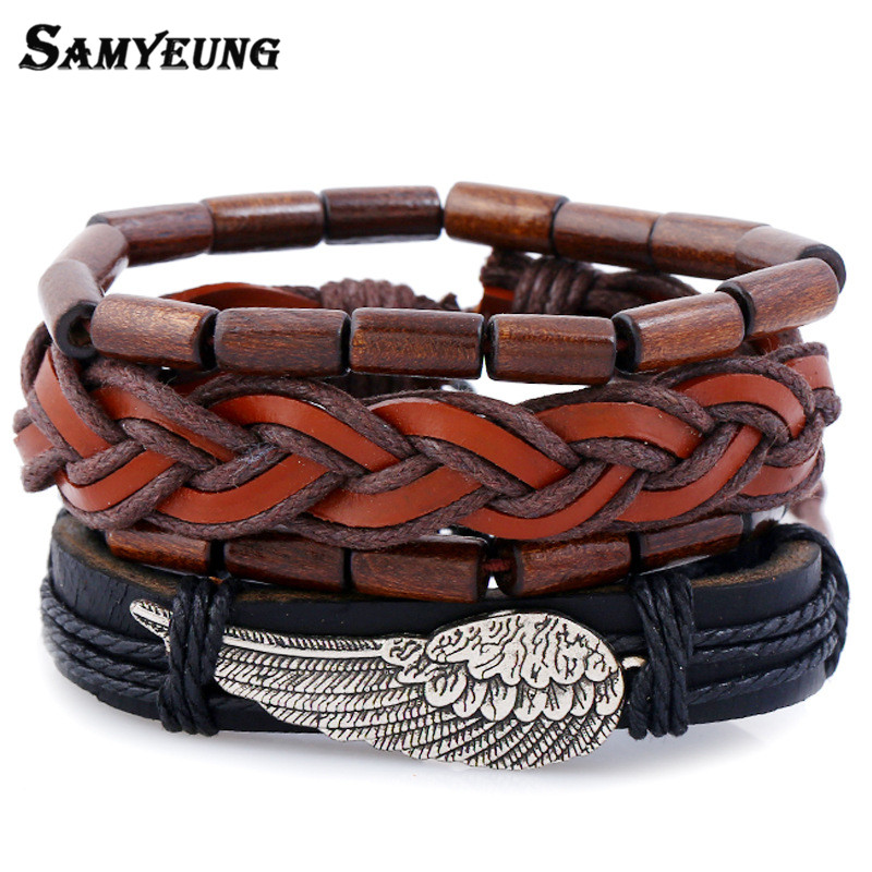 Samyeung 4Pcs/Lot Charm Wing Mens Leather Bracelets Male Wristband Beads Friendship Ladies Bracelet Braslet Women Jewelry