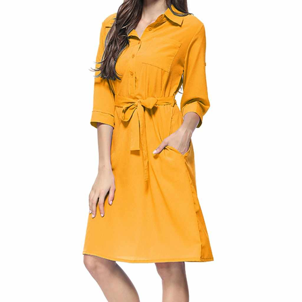 Summer Dress Women Fashion Casual Solid Color Pockets Button Turn-down Collar Three Quarter Sleeve Knee Length Vestidos OY41*