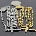 Banhado A ouro/Prata Cor Escolher de Aço Inoxidável 316L 4 MM Rosário Cadeia Colar de Pingente de Cruz