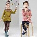 2 Peças de Moda Define Girls Roupas Crianças Ruffle Neck Superior e Leggings Rosa Verde