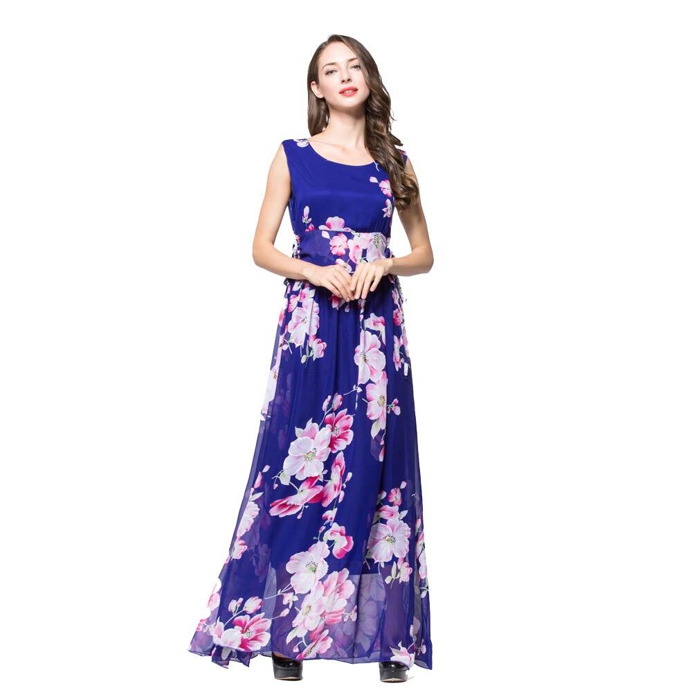 Mujeres otoño Maxi vestido africano imprimir flor Vestidos gasa ...