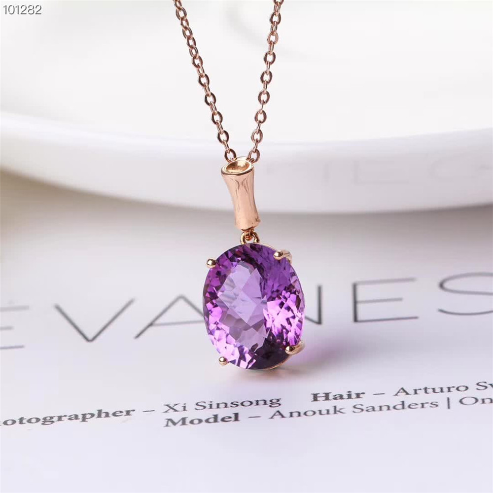 Gros luxe à la mode 18 k or violet améthyste cristal naturel pendentif collier or bijoux pour les femmes de fiançailles de mariage