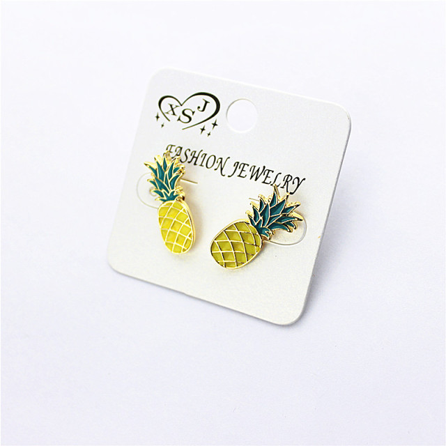 The new fashion accessories wholesale girl beautiful birthday party pineapple type stud earrings earrings with free shipping