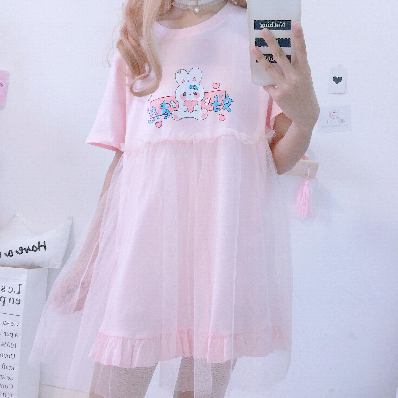 Summer Kawaii Pastel Japanese Bunny Lolita Dress  2