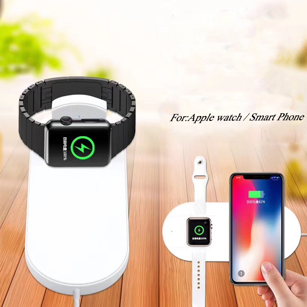 2 in 1 for apple watch/iwatch series 3/2 1 QI Wireless Charger for Iphone X 8 plus Samsung support fast Charging Dock Station k8 qi wireless charging transmitter pad for nokia lumia 820 920 samsung galaxy s3 i9300 note 2