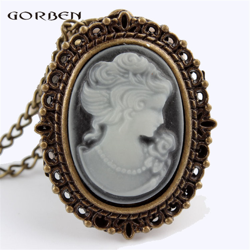 Elegant White Beautiful Lady Head Portrait Sculpture Pocket Watch Womens Necklace Chain Retro Pendant Ladies Girls Quartz Watch