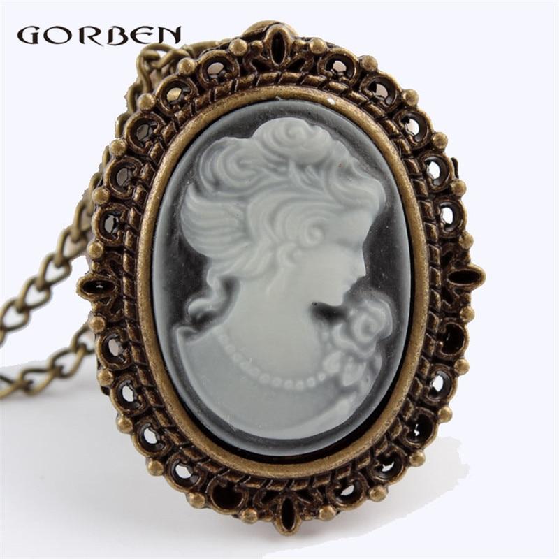 Elegant White Beautiful Lady Head Portrait Sculpture Pocket Watch Womens Necklace Chain Retro Pendant Ladies Girls Quartz Watch