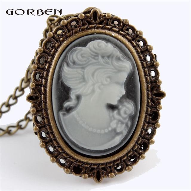 Elegant White Beautiful Lady Head Portrait Sculpture Pocket Watch Womens Necklac