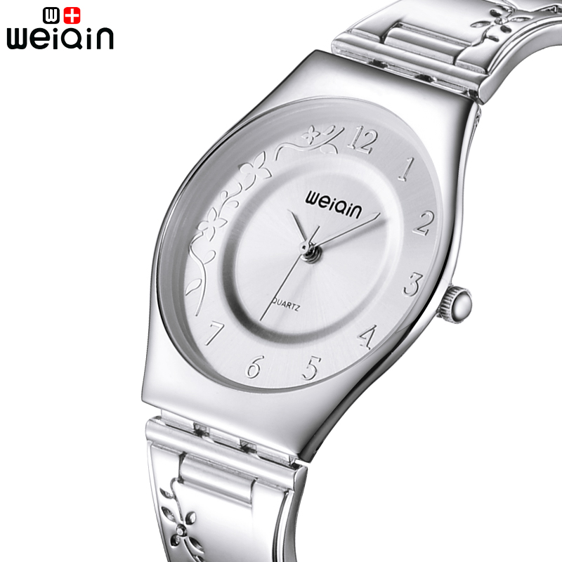 WEIQIN Märke 7mm Ultra Slim Quartz Watch Kvinna Rem Carving Silver Kvinnor Klockor Luxury Reloj Mujer Fashion Montre Femme 2019