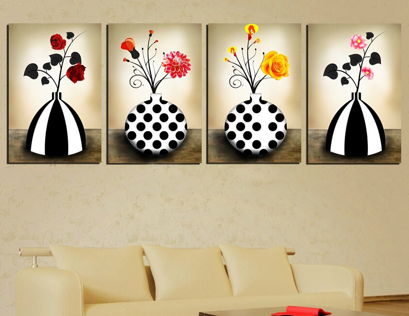 4 Piece Vintage Vase Decorative Painting Red Yellow Flower Oil Picture Traditional The White Black Art For Room Wall Multi Panel