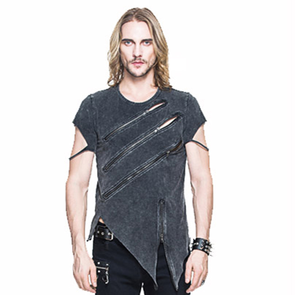 Summer Men T Shirt Punk Short Sleeve Zipper Asymmetrial Tee Top Casual Cotton T-Shirt Punk Black Tees mens casual 3d personality skull printing short sleeve t shirt cotton sport black tees