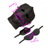 Pu Leather Bondage full cover head Mask Erotic Costumes Accessory Sexy Fetish Hood with zip on back