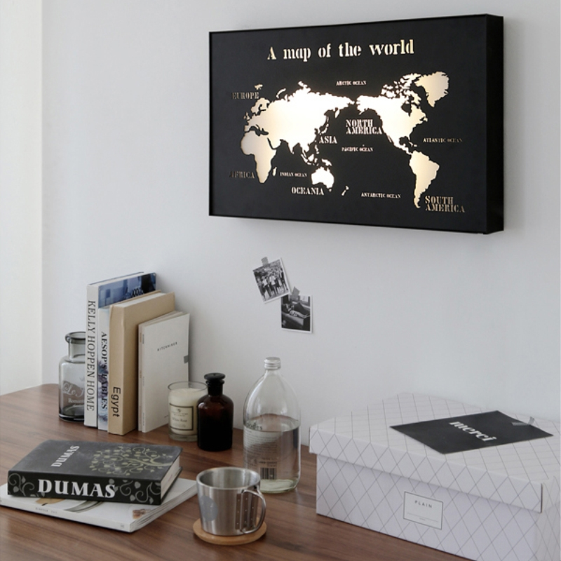 Modern iron world map led wall lamps corridor aisle lights living modern iron world map led wall lamps corridor aisle lights living room bathroom lights interior decorations gumiabroncs Gallery