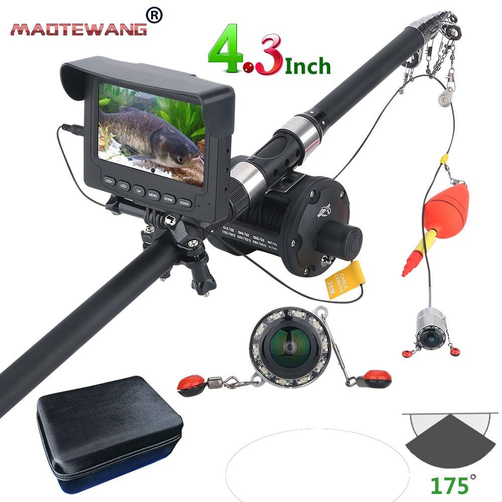 GAMWATER 25M 1000TVL Fish Finder Underwater Fishing Camera 4 3 inch Monitor 10PCS LED Night Vision