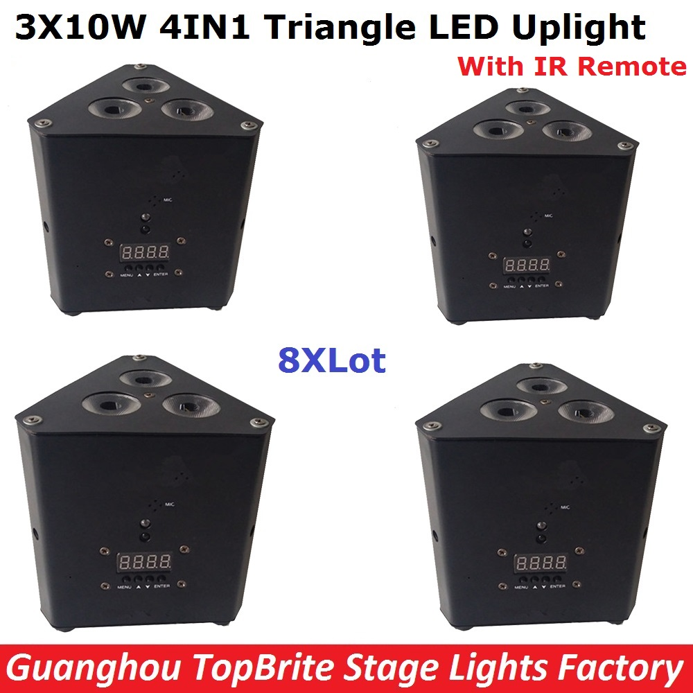 8Pcs/Lot LED Mini Triangle Stage Light High Quality 3X10W RGBW 4IN1 LED Mini Corner Lights 110-240V For Party Events Lighting