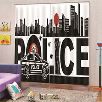 3D Digital Print Police Modern blackout curtains for window drapes Cheap for living room Bedroom Home Decor Draps AP26