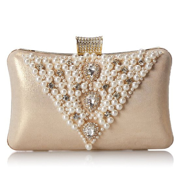 Image Women Evening Bag Day Clutches Diamond Shine stone Banquet Wedding  Party Bag Pearl Beaded Evening 4d8eebc23c399