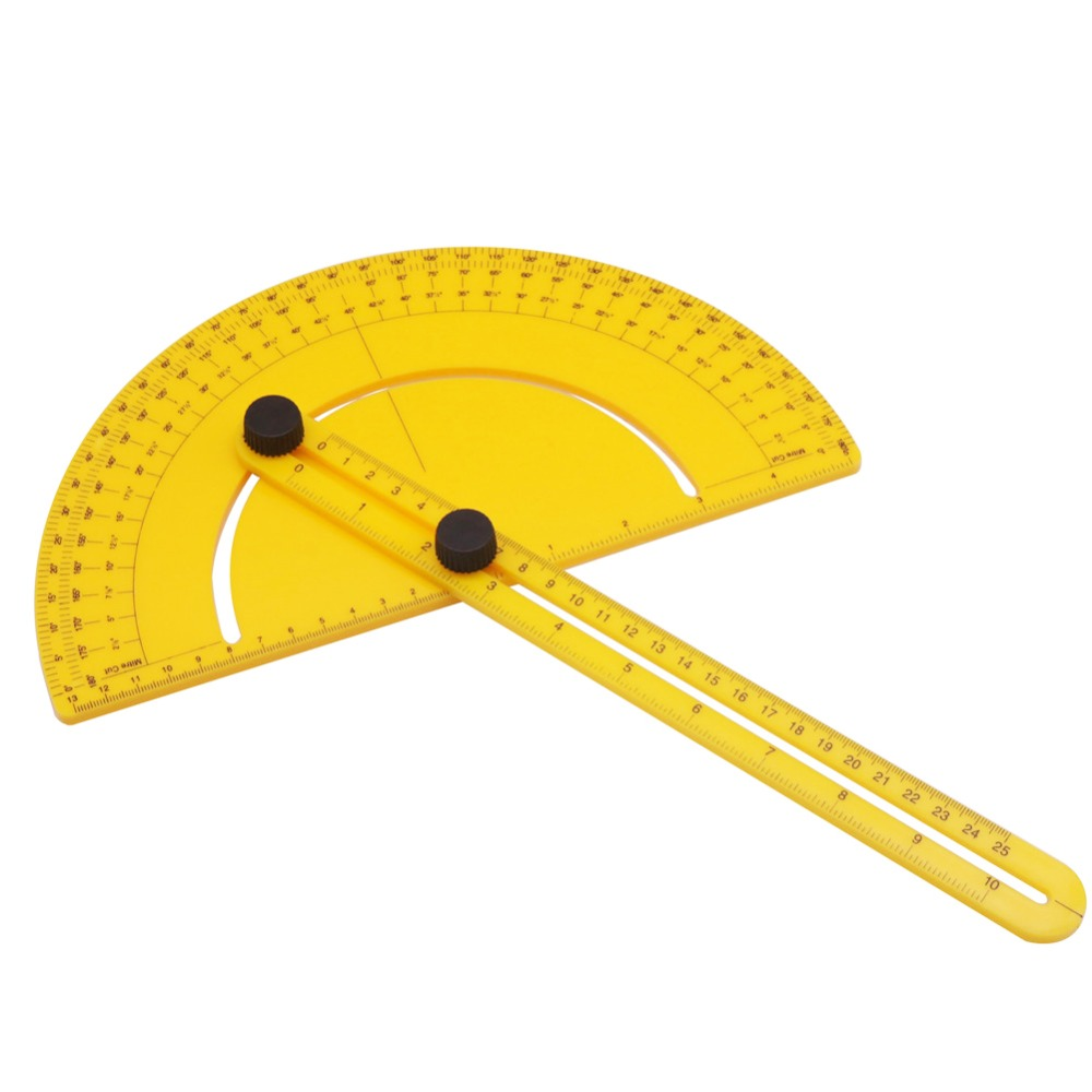 1 Pcs Multifunction Measuring Ruler Yellow Plastic Semicircular Ruler  For School Students Public Relations Planning Supplies