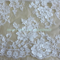 La Belleza Fashion show 59 inches high end wedding OFF white cord franch lace eyelash lace fabric 3 meters one piece
