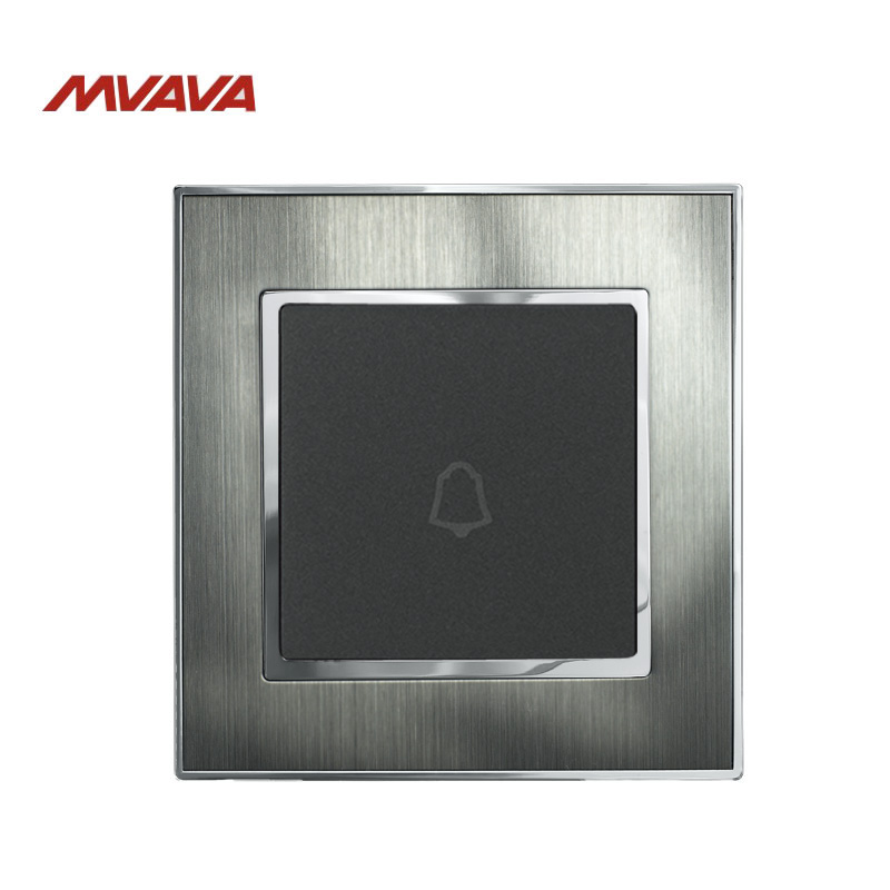 MVAVA Push Bottom Door Bell Switch Luxury Silver Satin Brushed Metal UK/EU Standard