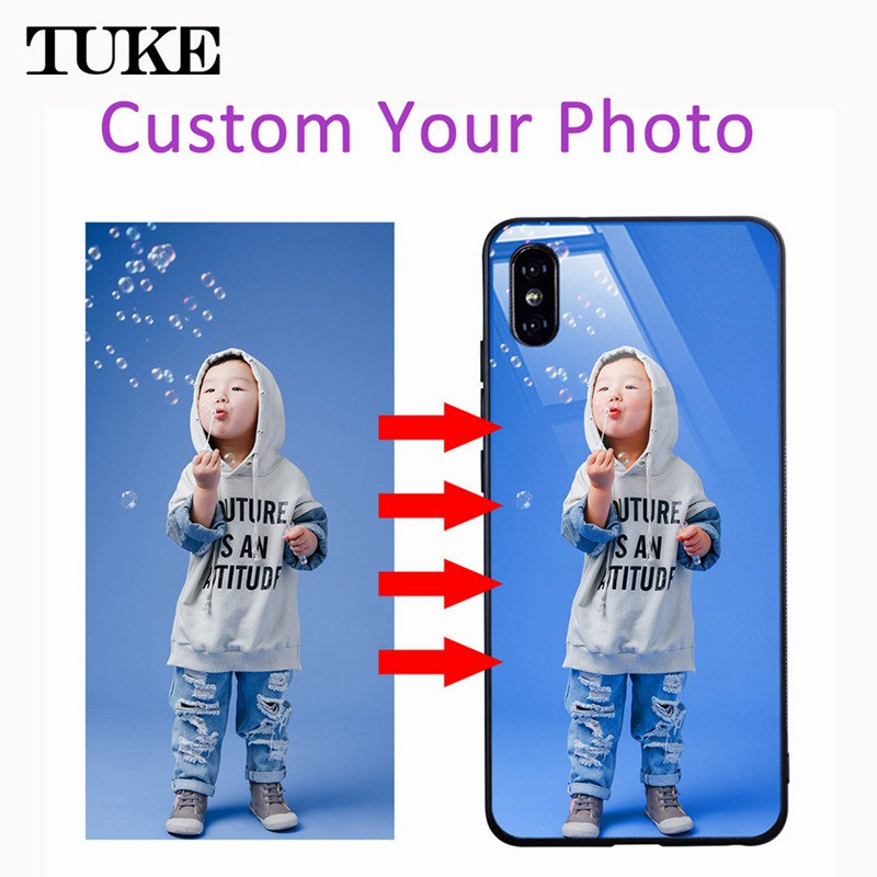 Personalized Customized Phone Cases For iPhone 6 6S 7 8 Plus Xs Max Xr X Glass Back Case TPU DIY Pattern Custom Photo Pic Cover