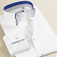 Smart Five Mens Spring 100 Cotton Long Sleeve White Shirts Slim Fit Double Collar Business Casual