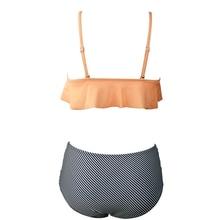 High Waist Swimsuit Ruffle Vintage Bikinis Swimwear Women Bandage Solid Top Striped Bottom Bathing Suits