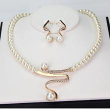 Hot Imitation Pearl Jewelry Sets Women Bridal Wedding Party Prom Pearl Rhinestone Necklace Earrings Jewelry Set