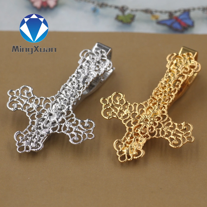 MINGXUAN 2pcs/lot Gold/Rhodium Copper Cross Tie Bar for Mens Suit Clasp Clip Business Wedding Tie Clips & Cufflinks(China)