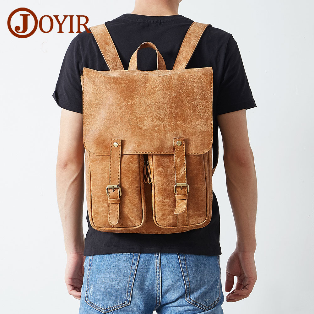 цены JOYIR Designer Famous Genuine Leather Backpack Male Travel Men Backpack Schoolbag Men Laptop Leather Backpacks Pocket Bag