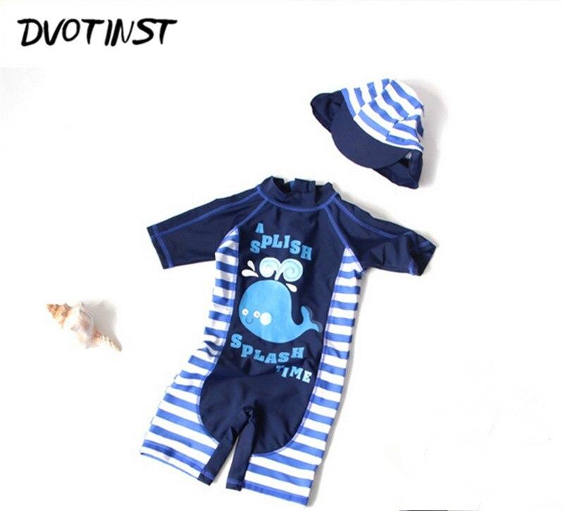 Dvotinst Baby Boy Vestiti Blu Delfino Cerniera Estate Swimwear + Cap 2 pz Set Vestito di Nuotata Spa Costume Da Bagno Della Spiaggia di Estate abbigliamento Costume
