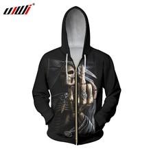 UJWI hombres Hoodies con cremallera fresca impresión Punisher cráneo 3d  Sudadera con capucha Hip Hop Streetwear manga larga con . 061bac82a61c