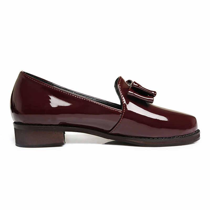 Fanyuan 2019 Vrouwen Casual Schoenen Flats Oxford Schoenen Zwart Wijnrood Comfort Slip Op Vrouwen Lakleren Loafers Schoenen plus 30-46