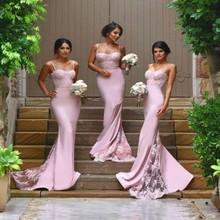 Sexy Bridesmaid Dresses Spaghetti Strap Vestido De Festa De Casamento Sheer Lace Applique Blush Peach Long