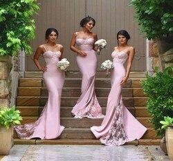 Sexy Bruidsmeisje Jurken Spaghetti Vestido De Festa De Casamento Sheer Lace Applique Blush Peach Lange Bruidsmeisjekleding