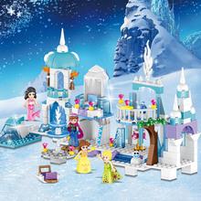 4 in 1 Friends Princess Mermaid Elsa Anna Ice Castle Sermoido Model Building Blocks Sets Toys For Children Gift