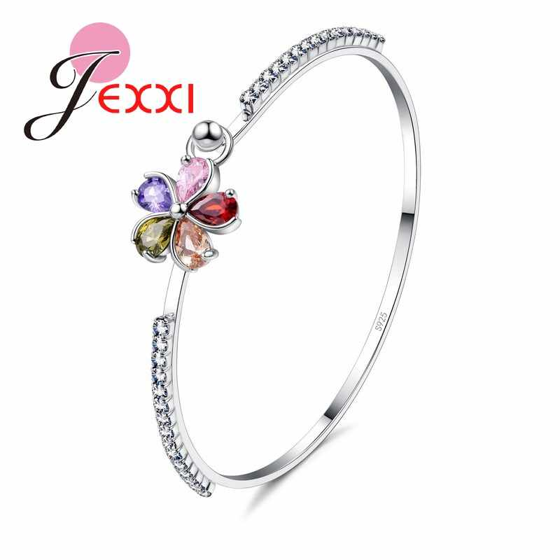 Five Petaled Flowers Shinning Colorful CZ Crystal Inlay Jewelry Gift S90  Color Bracelets&Bangle Around Charm Rhinestone