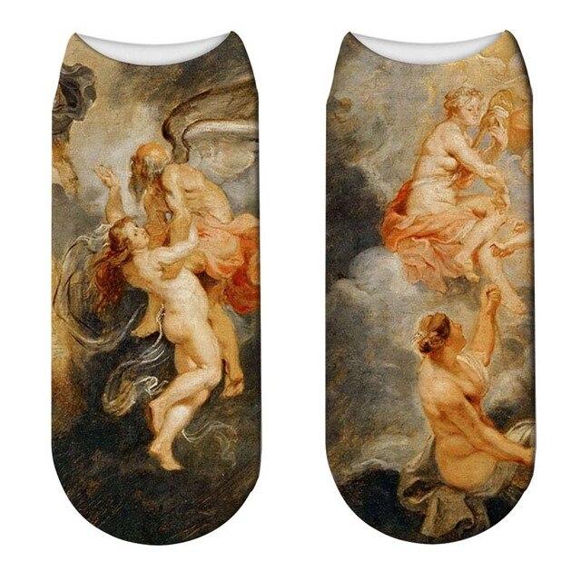 Mode peinture à lhuile 3D imprimé chaussettes femmes drôle Mona Lis femme coton chaussettes courtes Harajuku Art cheville chaussettes nouveauté Meias