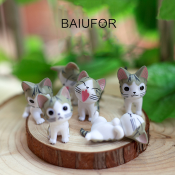 BAIUFOR Animals Cute Cats Acation Figures Mini Garden Miniatures Terrariums Figurines Desktop Ornament Car Decor Children Toy image
