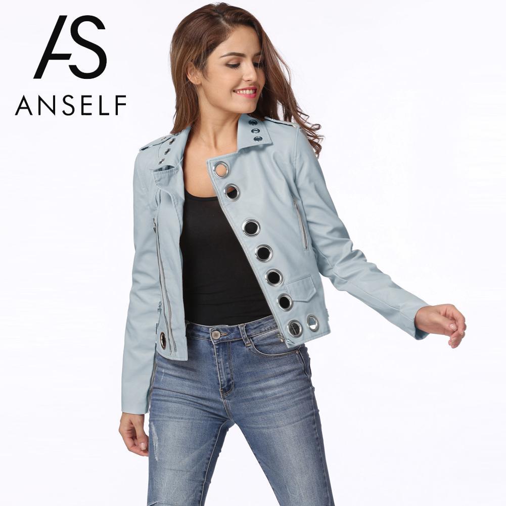 Anself 2018 Fashion Women Autumn Pu Leather Motorcycle   Jacket   Long Sleeve Hole Short Coat Black Ladies   Basic     Jackets   Outerwear
